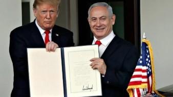 Trump firma declaración que reconoce la soberanía de Israel sobre los Altos del Golán