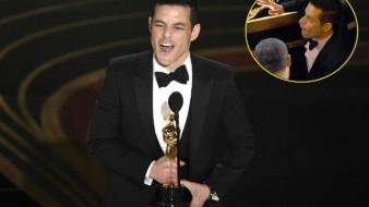 VIDEO: ¡Que trancazo! Rami Malek cae del escenario tras ganar el premio como