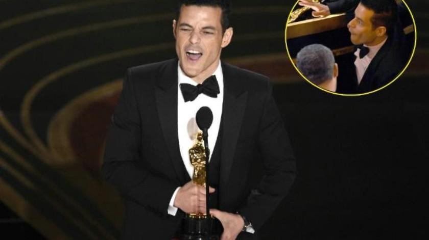 """VIDEO: ¡Que trancazo! Rami Malek cae del escenario tras ganar el premio como """"Mejor Actor"""""""