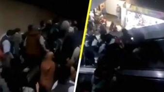 VIDEO: Colapsan escaleras del metro y madre sufre percance con bebé