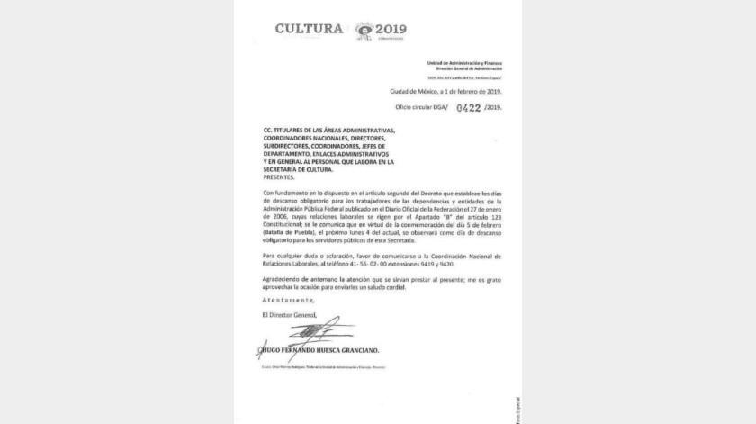"""Secretaría de Cultura trata de pasar por """"fake news"""" error sobre día festivo"""