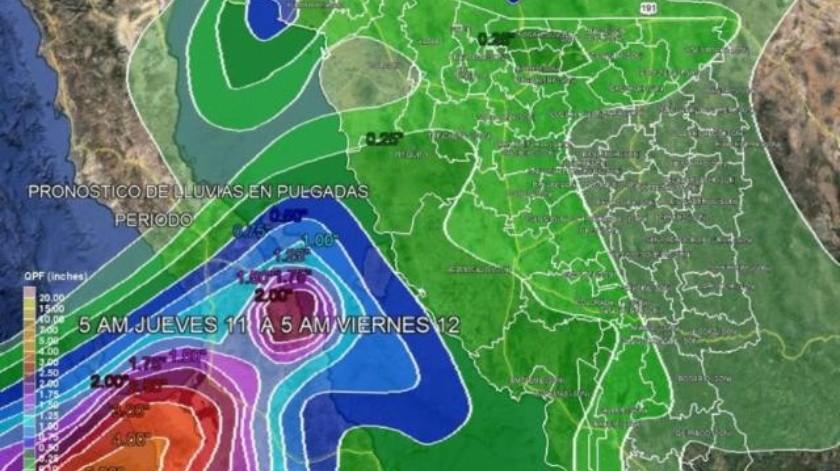 Pronostican lluvias intensas a partir de mañana jueves