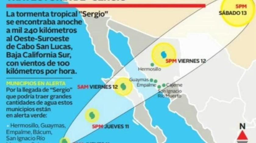 """Por depresión tropical """"Sergio"""", alertan ante riesgo de inundaciones y fuertes vientos en Sonora"""