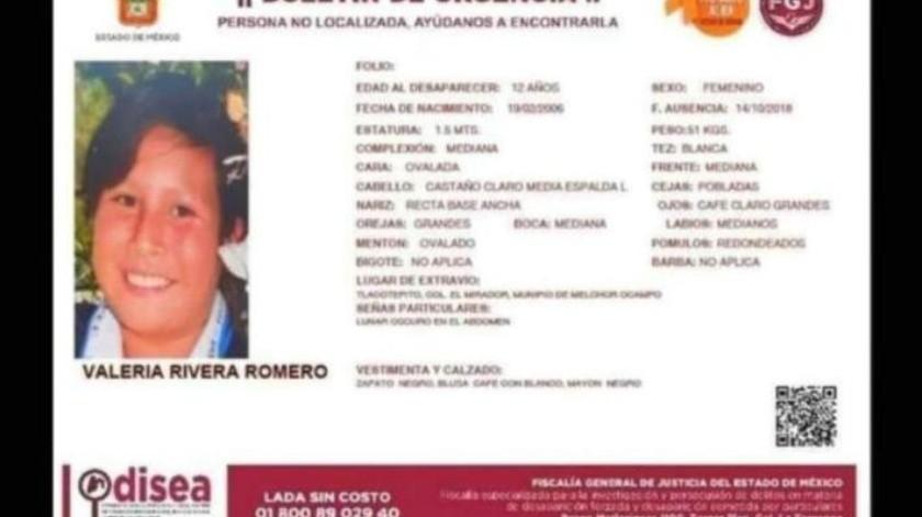 Hallan cuerpo de la niña Valeria; la menor desapareció en el Estado de México