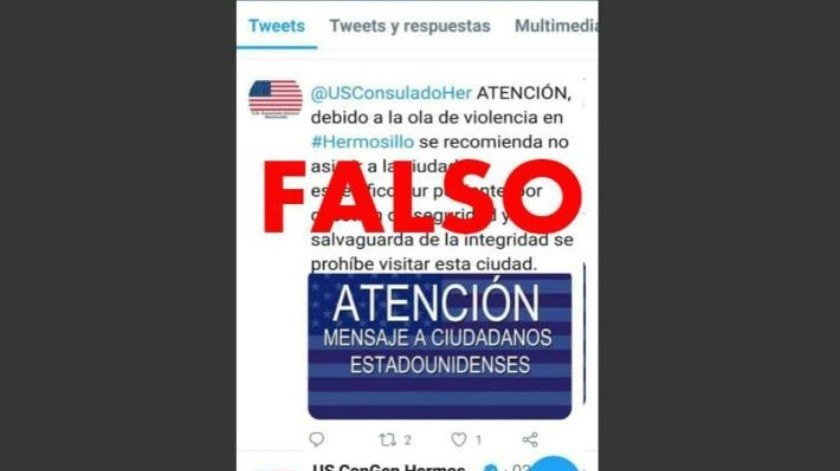 Circula en redes sociales fake news del Consulado de EU en Hermosillo alertando por inseguridad