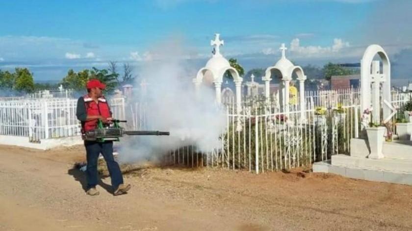 Fumigan en panteones para evitar criaderos de mosquitos