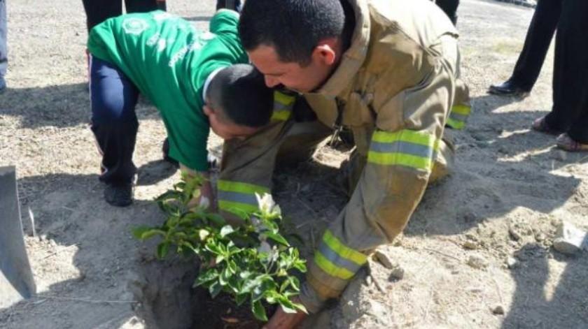 Bomberos y niños se unen en jornada en pro del medio ambiente