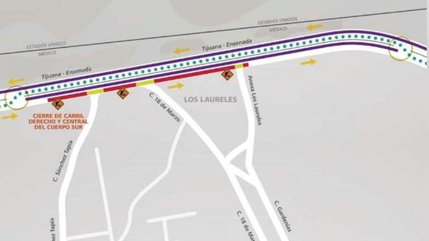 Habilitarán contraflujo vehicular en carretera a Playas de Tijuana
