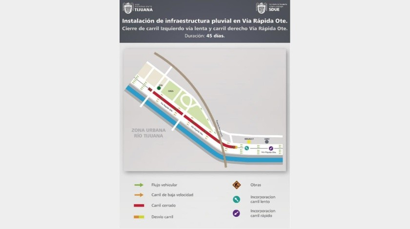 Por obras, cerrarán carriles en Vía Rápida