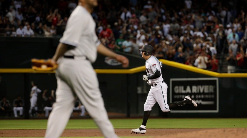 Arizona Diamondbacks Wilmer Flores rounds the bases after hitting a solo home run as New York Yankees starting pitcher CC Sabathia looks away during the second inning of a baseball game, Tuesday, April 30, 2019, in Phoenix. (AP Photo/Matt York)(AP)