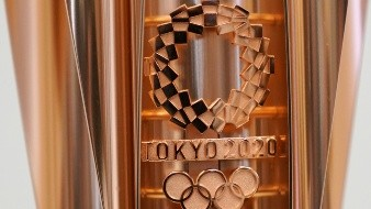 The emblem of the Olympic torch of the Tokyo 2020 Olympic Games is seen during a press conference in Tokyo Wednesday, March 20, 2019. (AP Photo/Eugene Hoshiko) - MARCH 20, 2019, FILE PHOTO