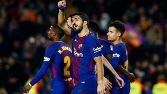 Luis Suarez - FC Barcelona�s Luis Suarez celebrates after scoring during the Spanish La Liga soccer match between FC Barcelona and  Girona at the Camp Nou stadium in Barcelona, Spain, Saturday, Feb. 24, 2018. (AP Photo/Manu Fernandez)