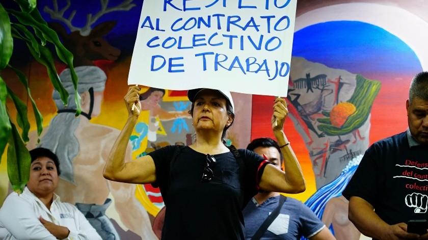 Manifestación de docentes de Cobach.