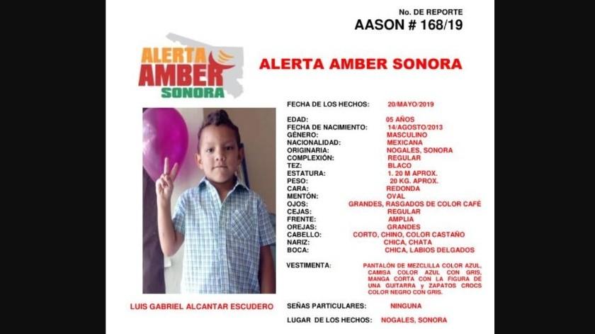 Activan Alerta Amber por menor Luis Gabriel en Nogales(Twitter/ @AlertaAmber)