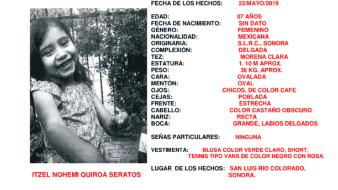 En Sonora se ha activado la Alerta Amber por la desaparición de una niña de siete años.