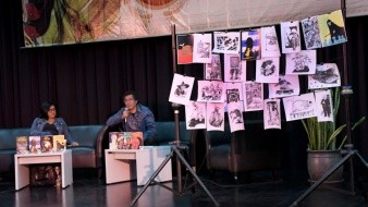 Alin Escoto Torres, funcionaria del Fondo de Cultura Económica, y Ricardo Peláez, conocido ilustrador de libros, encabezaron el lanzamiento local.