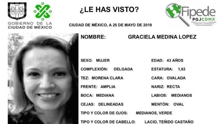 Graciela Medina López fue reportada como desaparecida el pasado viernes 24 de mayo.
