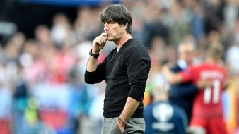 AP SOCCER EURO 2016 GERMANY POLAND S SOC WSOC FRA - Germany coach Joachim Loew looks on from the sidelines during the Euro 2016 Group C soccer match between Germany and Poland at the Stade de France in Saint-Denis, north of Paris, France, Thursday, June 16, 2016. (AP Photo/Martin Meissner) ORG XMIT: PW173