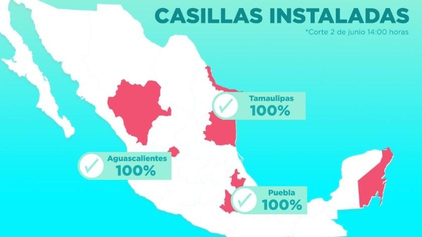 María de los Ángeles Quintero Rentería, consejera presidenta del Instituto Electoral de Tamaulipas, informó que se habían instalado las 4 mil 664 casillas programadas para la jornada electoral y que no había incidentes de inseguridad o violencia.