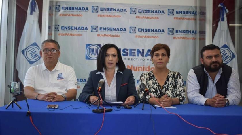 La candidata a la Presidencia Municipal de Ensenada por el PAN ofreció una conferencia de prensa.(Cortesía)