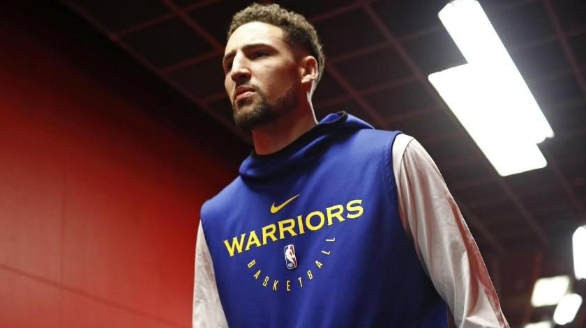 Klay Thompson es duda para el juego 3 de la Final de la NBA.(Twitter)