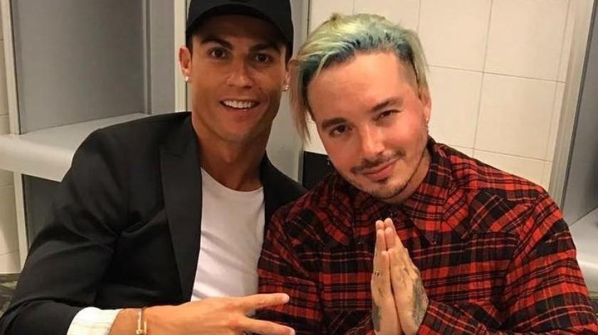 Fotografía de Cristiano Ronaldo y J Balvin en reunión en 2017.(Twitter)