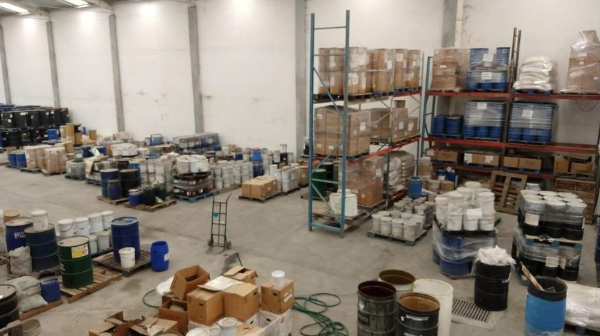 Aseguran laboratorio de fentanilo en Nuevo León(Twitter @FGRMexico)