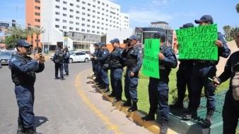 n la glorieta Cuauhtémoc, agentes de la Policía Federal realizaron una manifestación.