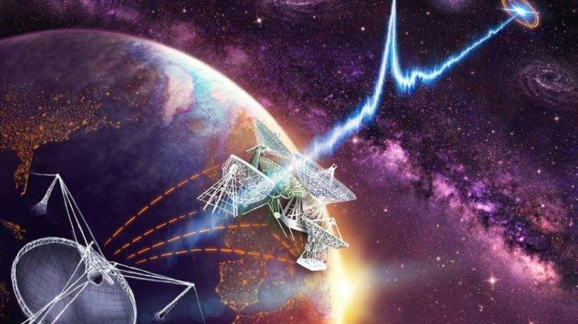 La señal llegó desde una galaxia que se encuentra a unos 3 mil 600 millones de años luz. Y es una señal tan fuerte que sus magnitudes de onda son extremadamente gigantescas.(Cortesía)