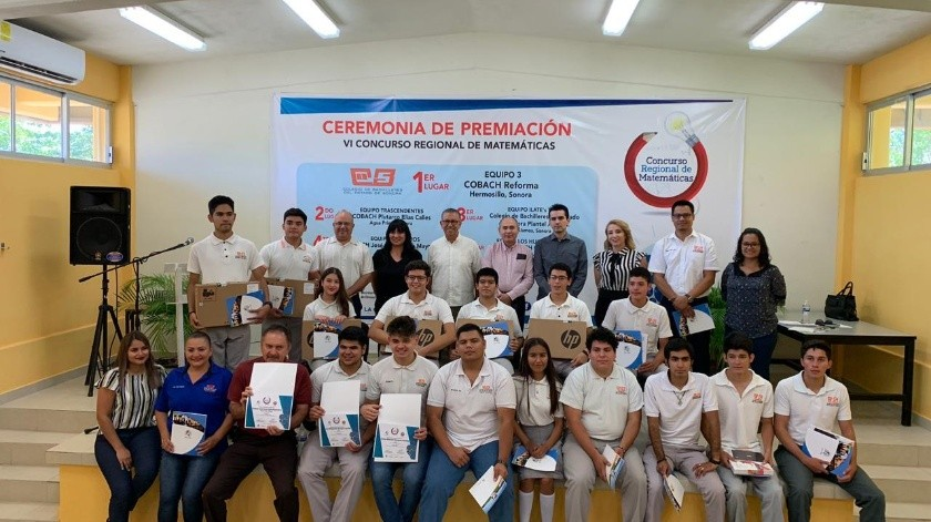 Premiación del Sexto Concurso Regional de Matemáticas que cada año organiza Fundación Educativa y Cultural Don José S. Healy en conjunto con la Escuela de Matemáticas de la Universidad de Sonora.(ESPECIAL)