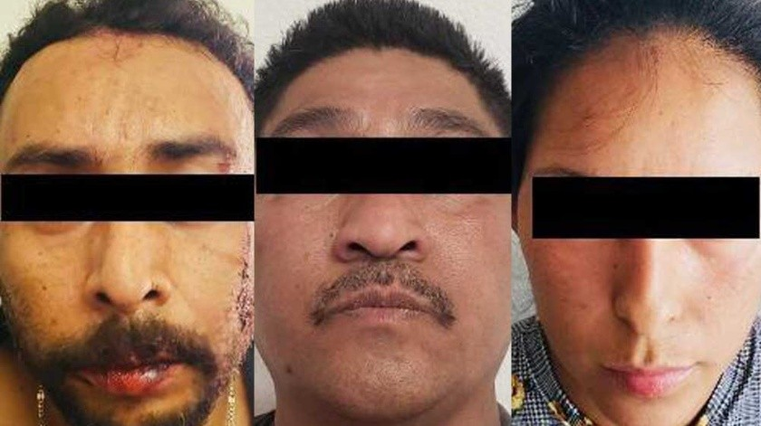 """Los ahora presos son identificados como José """"R"""", José """"C"""" y Brenda """"P"""".(Cortesía)"""