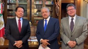 El presidente López Obrador se reunió con Mario Delgado y Ricardo Monreal.