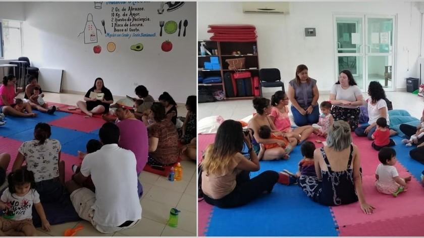 """Laura Meraz ofreció dos sesiones del taller para bebés """"El arrullo del viento"""" en el Centro de Desarrollo Comunitario 28 de Playa del Carmen,(Cortesía)"""