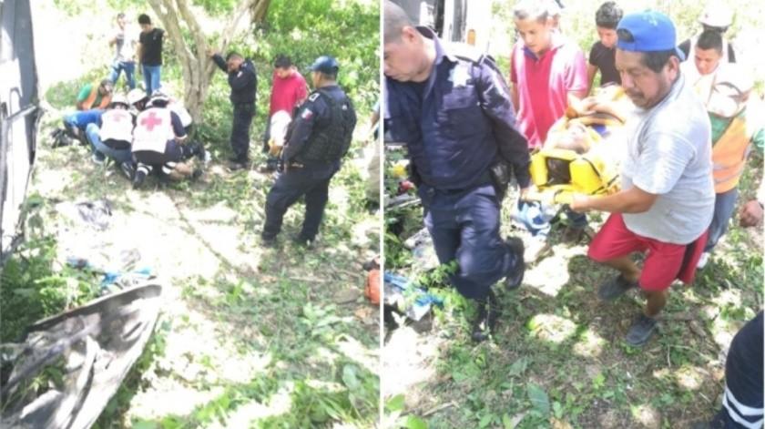 11 heridos en volcadura de camión de pasajeros en Veracruz(Especial)