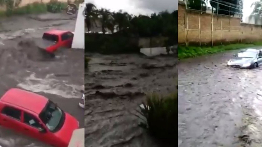 La fuerte lluvia que se presentó esta tarde al Sur de la Zona Metropolitana de Guadalajara afectó varios puntos del municipio de Tlajomulco, donde un canal desbordó y arrastró varios autos.