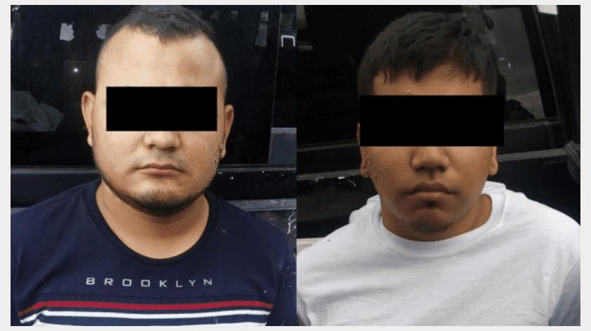 """Los detenidos fueron identificados como César """"N"""" de 24 años de edad, presunto líder de una célula criminal del Cartel del Noreste en Cadereyta, así como Víctor """"N"""" de 22 años.(Especial)"""
