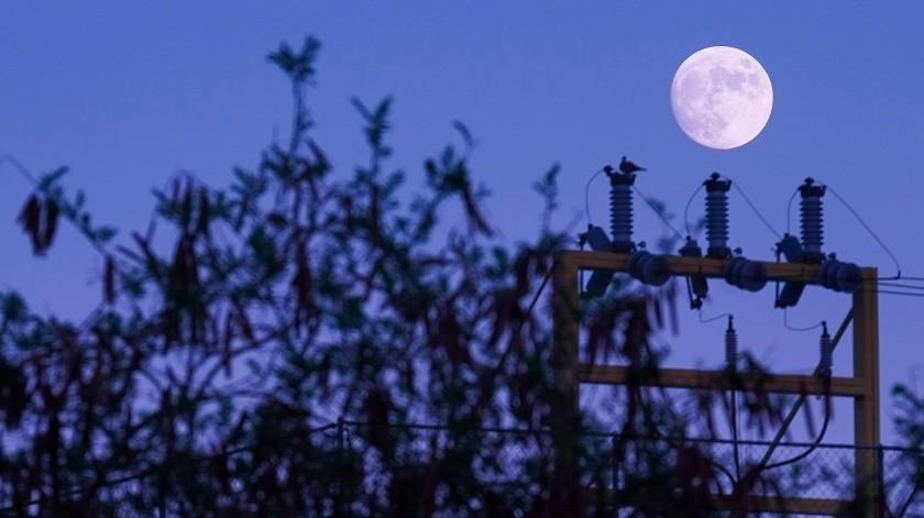 Una luna creciente casi llena se pudo apreciar este martes desde la cuidad de Mexicali, Baja California.(Víctor Medina)