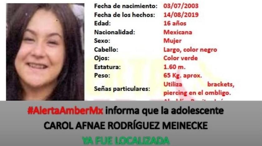 Hallan en Sonoyta a menor reportada desaparecida en CDMX(Twitter/ @AAMBER_mx)