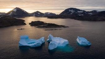 Derretimiento de glaciares en Groenlandia,