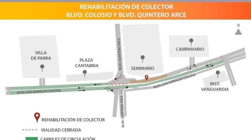 Elementos de Tránsito Municipal instalarán el operativo vial; inician trabajos de rehabilitación del colector sanitario.