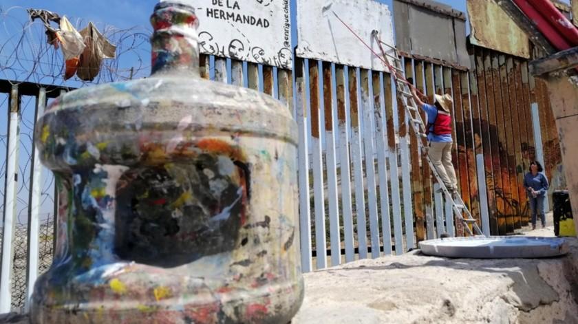 Rescatan el muro fronterizo con actividades culturales.