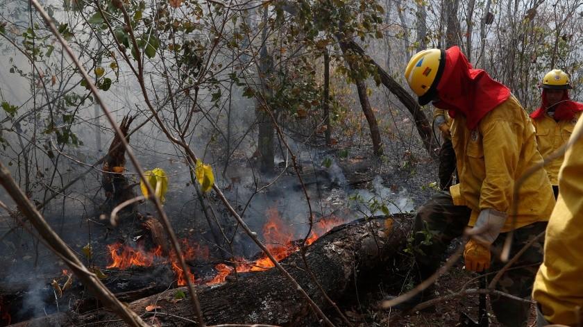 Los soldados trabajan para apagar un incendio forestal en el bosque de Chiquitano en Bolivia, el lunes 26 de agosto de 2019. Bolivia lucha por contener los incendios que arrasaron bosques y campos. Un avión estadounidense, el B747-400 SuperTanker, está volando sobre áreas devastadas para ayudar a apagar las llamas y proteger los bosques. Foto: AP(AP)