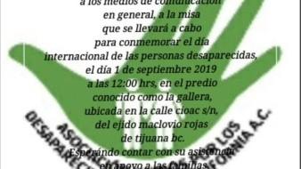 La misa será para conmemorar el Día Internacional de los Desaparecidos.