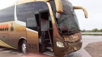 Este autobús sufrió daños tras impactar a un caballo en la carretera.