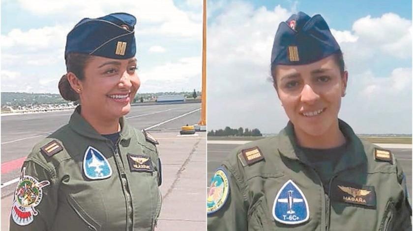 La piloto aviador Karen Vanessa Velázquez Ruiz estará al mando de uno de los cuatro aviones supersónicos F-5 y La piloto aviador Miriam Martínez Magaña comandará un Texan T6C, que se utiliza para entrenamiento.