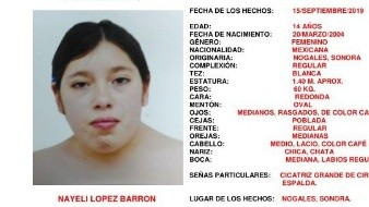 Se ha activado la Alerta Amber Sonora por la desaparición de la joven Nayeli López Barrón.