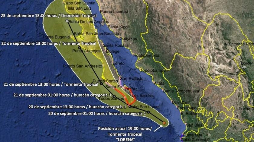Avanza Lorena hacia costas de Baja California(Cortesía)