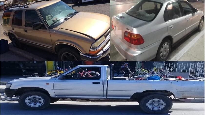 Tres vehículos con reporte de robo fueron recuperados por la Policía Municipal, acciones en las que se detuvo a cinco presuntos delincuentes.(Cortesía)
