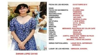 Activan Alerta Amber por desaparición de Dahian en Ciudad Obregón