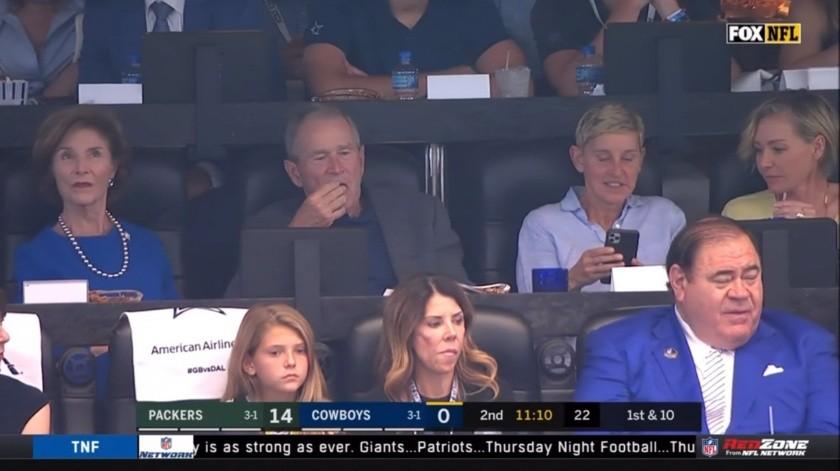 Laura Bush, George W. Bush y Ellen DeGeneres(Captura de video)